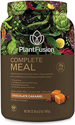 PlantFusion Complete Meal All Plant Based Pea Protein Powder |Meal Replacement Shake |Dietary Supplement | Nutritional Drink | Vegan, Gluten Free, Non-Dairy, No Sugar, Non-GMO, Chocolate Caramel, 2 LB