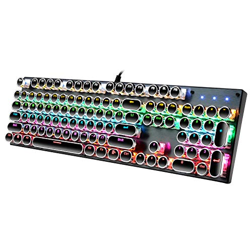 Beaudin Mechanical Gaming Keyboard with Rainbow Backlit Typewriter Retro Mechanical Keyboard Full-Size 104 Keys USB Wired Keyboard Blue Switches Ergonomic Keyboard Scratch Resistant Keyboard (Black)