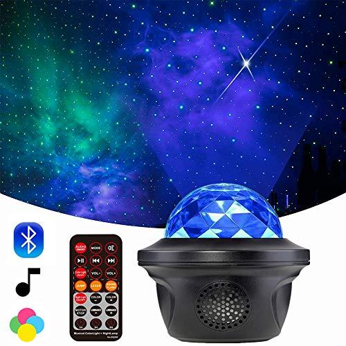 Lámpara Proyector De Estrella, Proyector De Estrella De Planetario Bluetooth, Luz De Noche Led Para Niños Con Temporizador y Control Remoto, Reproductor De Música Para Niños, Exterior, Hogar (Negro)