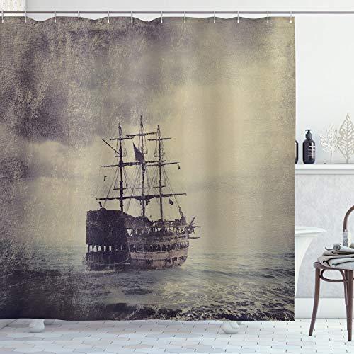 ABAKUHAUS Nautisch Duschvorhang, Altes Piratenschiff im Meer, mit 12 Ringe Set Wasserdicht Stielvoll Modern Farbfest & Schimmel Resistent, 175x240 cm, Pflaume Tan