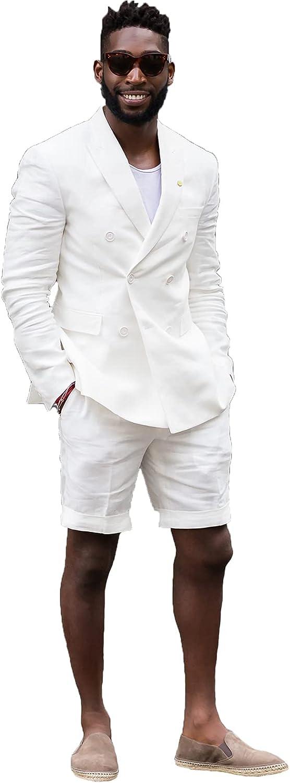 Mens Double Breasted Linen Suit Set with Shorts 2 Piece Suits for Men Beach Wedding JXZ014