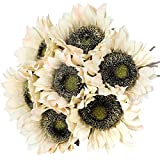 Hawesome 7PCS Sunflowers Artificial Flowers Vintage Long Stem Silk Sunflowers for Wedding Party Centerpieces Home Decoration(White)