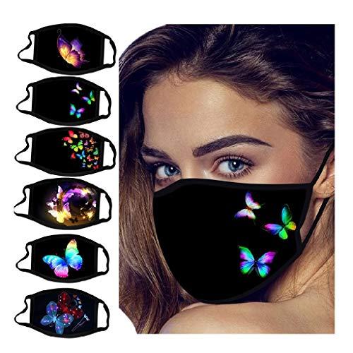 6PCS Butterfly Print Black Face_Mask Washable, Breathable Reusable Face_Masks for Coronàvịrụs Protectịon (Multicolor)
