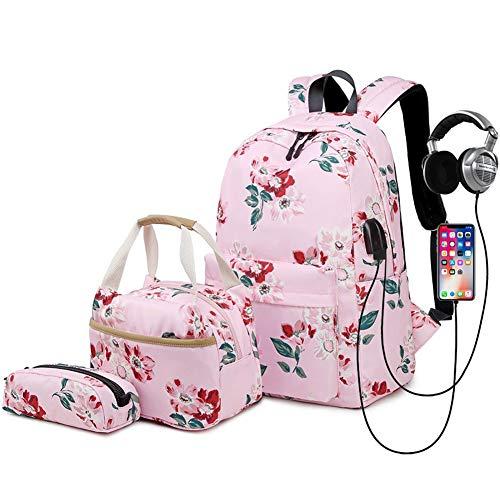 Zokrintz School Backpack for Girls Teens Bookbag Set 14inch Laptop Floral Schoolbag 3 in 1 Bags