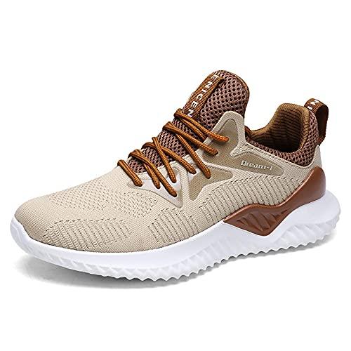Aerlan Men's Running Shoes,Zapatos de Hombre Zapatos de Senderismo, Zapatos Casuales de Malla para Correr-Amarillo pálido_41,Zapatos de Gimnasia Zapatos Ligeros