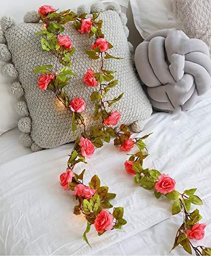 Guirnalda de flores rosa artificial con 20 luces LED de hada para interior y exterior, guirnalda de lámpara para boda, casa, cumpleaños, jardín (sandía roja, 6.56FT/20LED)
