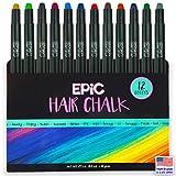 EPIC: Hair Chalk for Girls & Boys - 12 Large Pens - Vibrant Colors for Light & Dark Hair - Temporary Hair Color for...