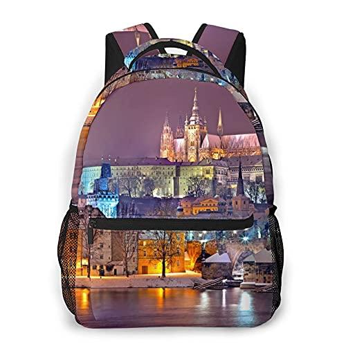 AOOEDM Mochila para hombres y mujeres, Praga, noche de invierno, nieve, Castillo de Praga, ciudad, mochilas informales, mochilas, bandolera de viaje