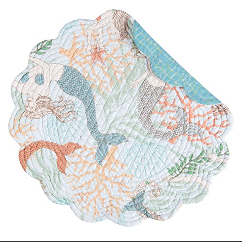 C&F Home Dancing Waters Aqua Blue Mermaid Coral Shell Starfish Coastal Beach Ocean Round Cotton Quilted Single Cotton Placemat Round Placemat Aqua