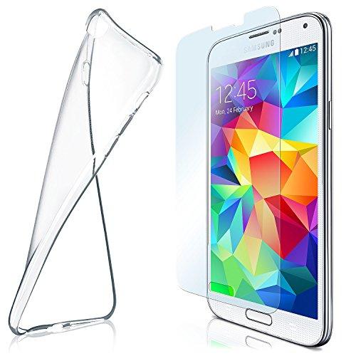 MoEx Funda de Silicona Compatible con Samsung Galaxy S5 / S5 Neo [360 Grados] Protector de Pantalla de Cristal con Tapa Trasera Transparente para teléfonos móviles Compatible con Galaxy-S5 / S 5 Neo