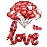 MMTX 34 Pack Foglio di Elio Rosso Cuore Palloncini Set Palloncini da 18 Pollici per San Valentino...