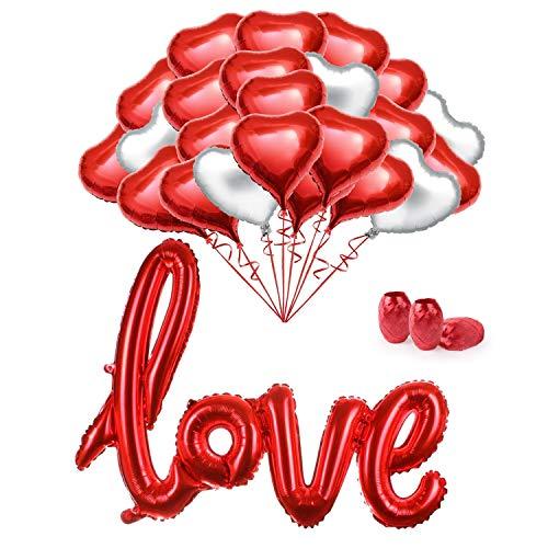 Juego de globos MMTX 34 Foil Globos rojos de helio Conjunto Globos de 18 pulgadas para el Día de San Valentín Bodas Nupcial Aniversario y compromiso Decoración Día de La Madre.