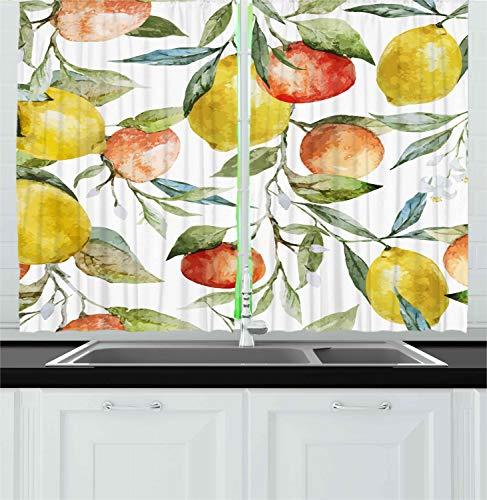 "Ambesonne Nature Kitchen Curtains, Lemon and Orange Clementine Tree Branches Fruit Yummy Winter Season Vitamin Design, Window Drapes 2 Panel Set for Kitchen Cafe Decor, 55"" X 39"", Yellow White"