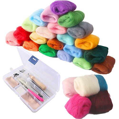 NouveLife Juego de 36 mini rodillos de lana, kit de fieltro, 8 agujas de fieltro, mango de madera, tijeras, protección para los dedos, punzón, tubo de pegamento