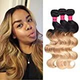 Wome Hair Peruvian Human Hair Wefts Ombre Two Tone 1B#27 Body Wave Hair Bundles 3 Bundles Curly Ombre Blonde Hair Weaves (14' 14' 16')