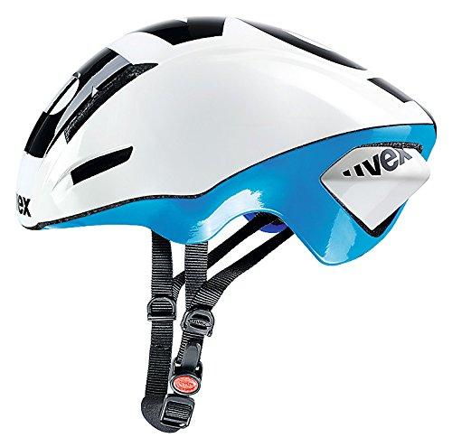 Uvex Edaero - Casco de Ciclismo para Hombre, Color Blanco/Azul, Talla 53-58...