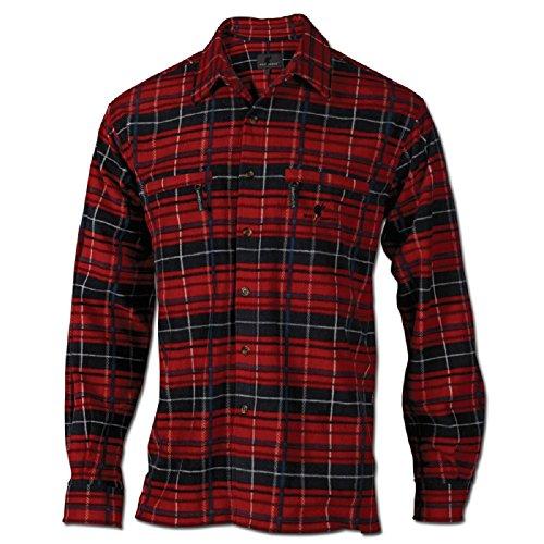 Wolf Camper Highland Fleece-Hemd Männer (rot-weiß, L)