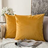 MIULEE Velvet Soft Soild Microfiber Decorative Square Pillow Case Throw Cushion Cover for Sofa Bedroom Car with Invisible Zipper 18x18 Inch 45x45cm Orange Yellow Set of Two Lined