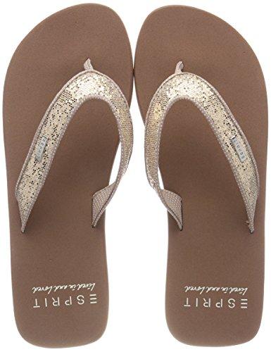 ESPRIT Damen Glitter Thongs Pantoletten, Beige (Cream Beige), 38 EU