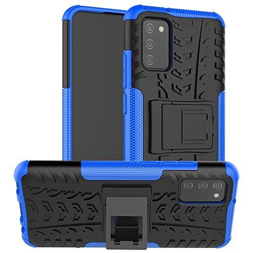 WANGZHEXIA - Funda de teléfono para Samsung Galaxy A02s con textura de neumático antigolpes TPU + funda de protección PC con soporte