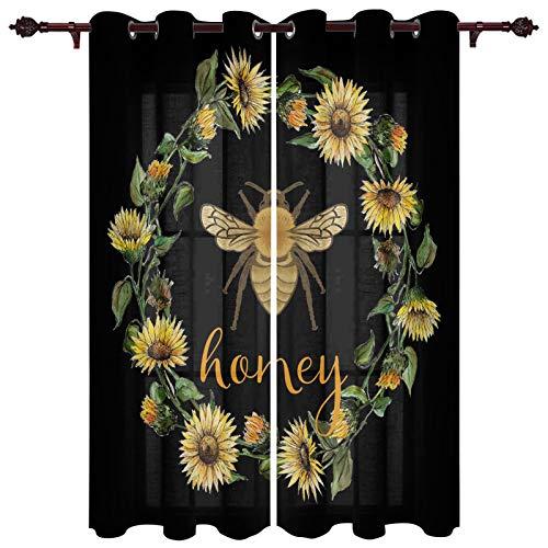 "USOPHIA Grommet Semi Sheer Window Treatment,Sunflower Garland Honey Bee Design on Black Background Living Room Bedroom Window Drapes 2 Panel Set, 52"" x 96"""