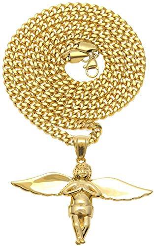 LLJHXZC Collar con Colgantes de ángel de Acero Inoxidable de Color Dorado Hip Hop para Hombres, Barco de joyería con Cadena Cubana de 70 cm