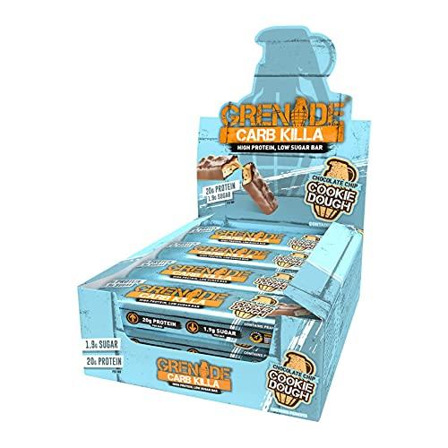 Grenade Carb Killa Barretta Proteica a Basso Contenuto di Carboidrati, 12 x 60g, Choc Chip Cookie Dough