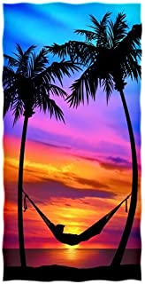 Palm Tree Sunset Beach/shower Towel by Dawhud Direct