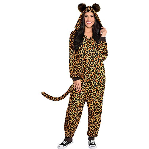 Party City Leopard Zipster Halloween Costume for Women, Large/Extra Large (14-16), Hooded Onesie with Ears and Tail