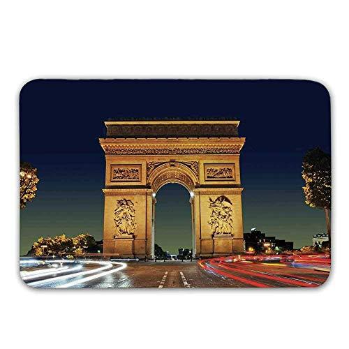 Alfombra de entrada antideslizante de goma de la decoración de París, Arco de Triunfo París, Francia Entrada turística Rotonda Atardecer atardecer Felpudo para puerta delantera Alfombra de baño