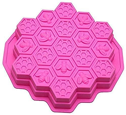 HXYA 19 cavidades flexibles panal torta moldes para niños de silicona para hornear torta de chocolate molde para hornear (rosa)