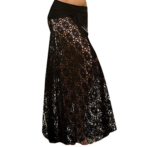 AiSi Damen Spitze Neckholder Strandkleid/Träger Kleid/Sommer Überwurf Kaftan/Bikini Cover Up/Strandponcho transparent durchsichtig Tüll schwarz