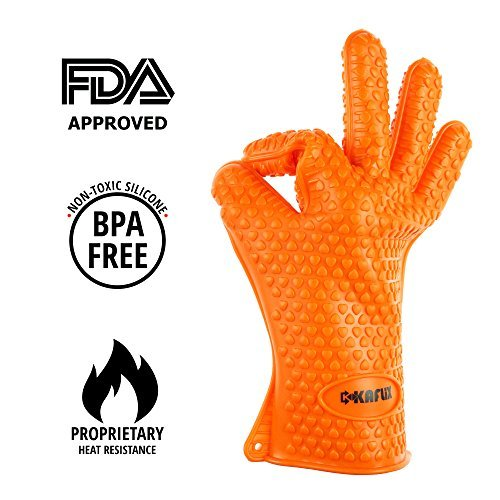 Kaflix BBQ Cooking Gloves - Silicone Heat Resistant & Waterproof Safety Gloves for BBQ, Smoker, Grill, Oven and Baking – Potholders + Grill Brush for Oiling Products + eBook with Recipes