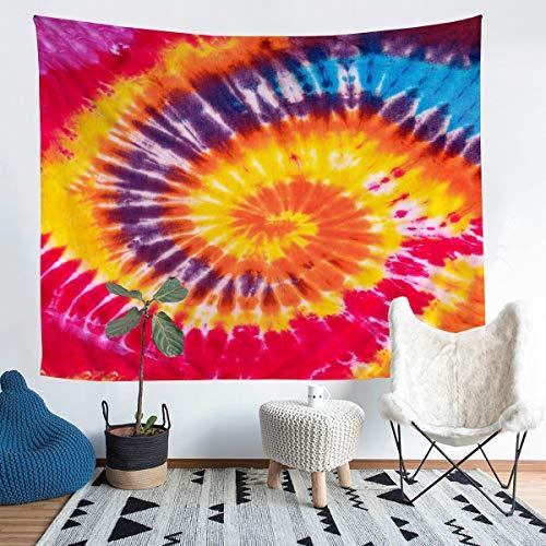Loussiesd Colorido tapiz teñido anudado para niñas y niños, moderno Boho psicodélico colgante de pared decorativo patrón de acuarela manta de pared bohemia gitana espiral, arte de pared grande 58 x 79