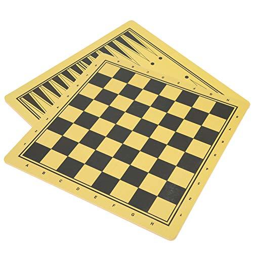 DAUERHAFT Tablero de ajedrez de 2 Piezas de Larga duración, Adecuado para ajedrez, borradores, Damas, Backgammon, Accesorio de Tablero de ajedrez de Doble propósito