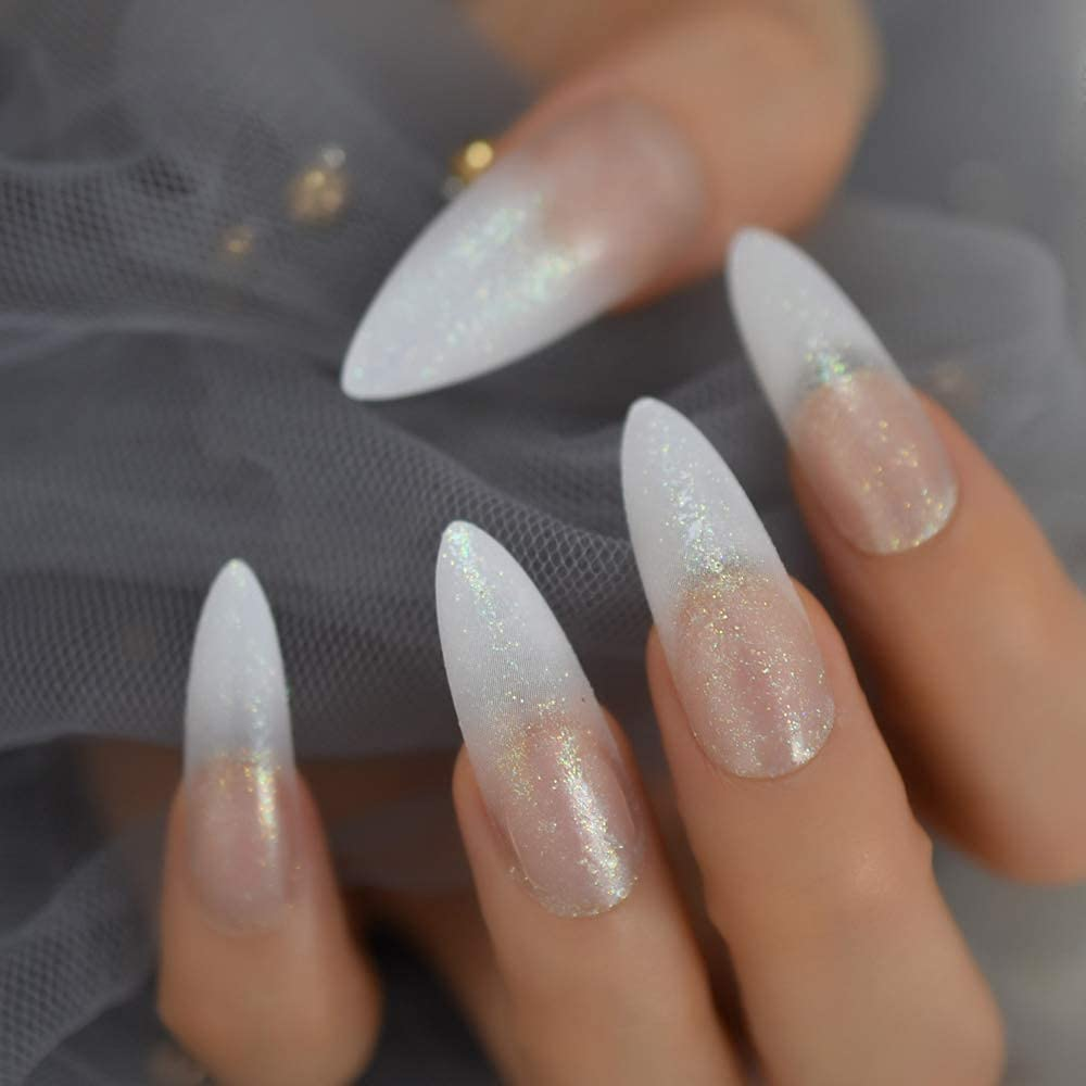 CoolNail Extra Manufacturer direct delivery Long Shimmer Import Glitter Pre French Nails White False