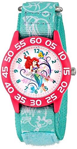 Disney Kids' Ariel Little Mermaid Time Teacher Watch with Blue Nylon Band