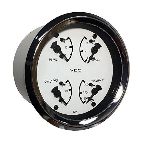 VDO Allentare Calibre 4 en 1 85 mm Cadran Blanc/pointeur Noir Pression d'huile, température de l'eau, Niveau de Carburant, Voltmètre Lunette chromée 110-15800