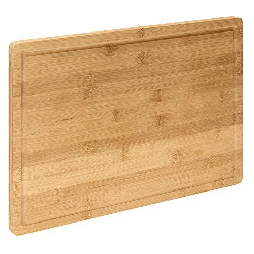 RSW24 Tagliere XXL | 45 x 30 x 2 cm | 100% bambù | tagliere in legno antisettico | con scanalatura