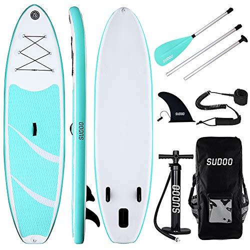 Triclicks SUP Aufblasbares Stand Up Paddle Board Paddling Board Surfboard mit Verstellbares Paddel, Handpumpe mit Druckmesser, Leash, Finner, Rucksack, 300 x 76 x 15cm (Stil 3)