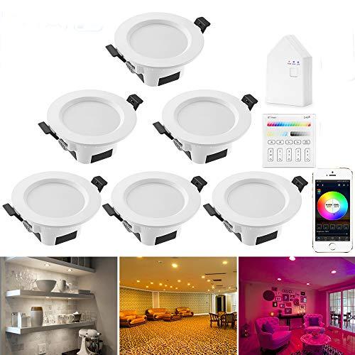 6er set Wlan Bluetooth 9W LED Einbaustrahler RGBW+CCT 5 in 1 Einbauleuchte Spot Dimmbar 230 Volt Einbauleuchten mit Touchscreen Smart Schalter Panel,BT Mesh Smart Bridge