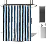 <span class='highlight'><span class='highlight'>TimBeve</span></span> Quality Fabric Shower Curtain Abstract,Vertical Striped Colorful Paintbrush Bands Stripes Hand Drawn Artful Print,Violet Blue Black,Anti-Bacterial,Mildew Resisant Bathroom Curtain 70