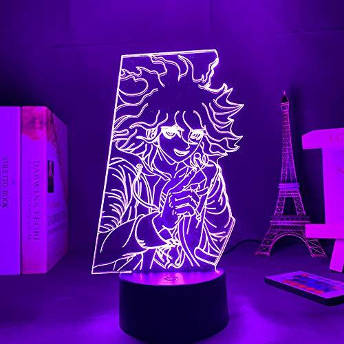 Lámpara LED Anime Danganronpa V3 Avatar Figuras Nagito Komaeda Luces LED para Decoración Luz de Noche Enchufe en 7 Colores sin Remoto