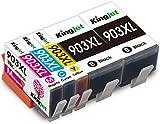 Kingjet 903XL Cartouche d'encre, Compatibles HP 903 903XL Cartouches Multipack pour HP OfficeJet 6950, HP OfficeJet Pro 6960/6970 Multipack (2 Noir, 1 Cyan, 1 Magenta, 1 Jaune) Pack de 5