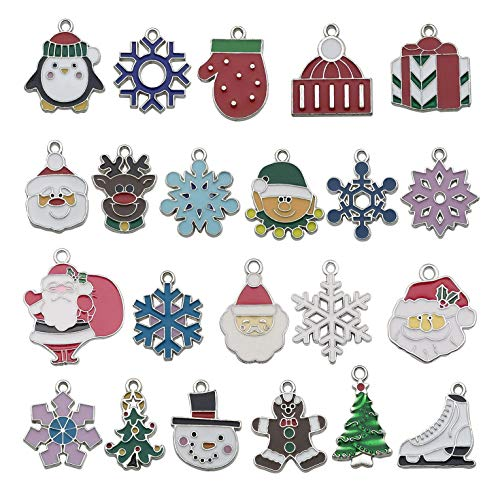 22 Pcs Silver Enamel Christmas Snowflake Charms for DIY Jewelry Making Necklace Bracelet Earring DIY Christmas Clothes Sewing Bags Decoration Charms (M538-22pcs)