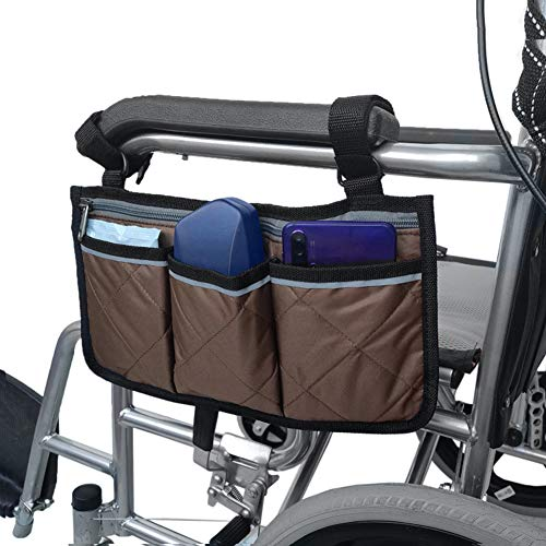WANGXN Aufbewahrungstasche für Rollstühle Armlehne Organizer Aufbewahrungstasche Rollstuhl Zubehör Veranstalter Mobilitätshilfe Rollstuhlzubehör Tasche