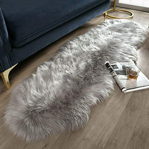 Ashler Ultra Soft Fluffy Area Rug Faux Fur Sheepskin Carpet Chair Couch Cover for Bedroom Floor Sofa Living Room, Grey 2 x 6 Feet