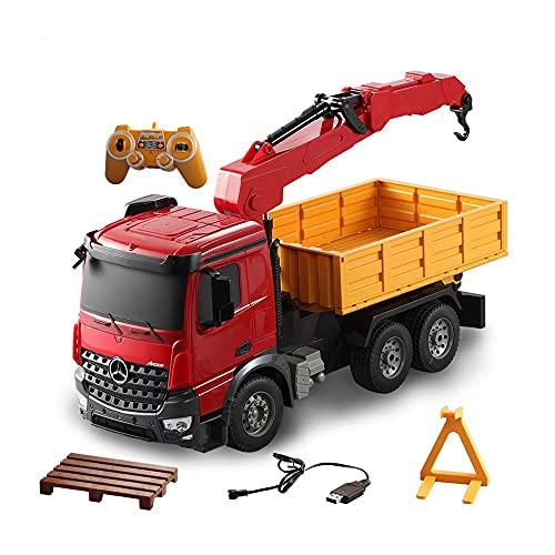 ALYHYB Control Remoto Crane Truck 2.4GHz Control Remoto multifunción Trailer Remolque Móvil Crane RC Ingeniería Educación de vehículos Tractor Tractor Tractor Juguete para cumpleaños de niños