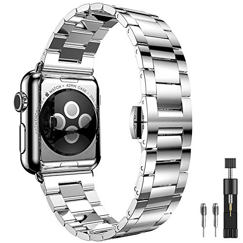 PUGO TOP Cinturino Replacement for Apple Watch Series 4 3, 0,2 cm Ultra Sottile in Acciaio Inossidabile per Apple Watch Series1/Series 2(42mm/44mm Argento)