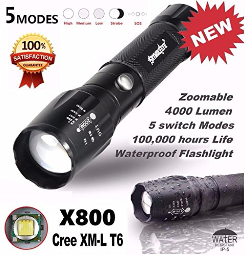 Tonsee® Lampes Torches, Militaire Lampe 5000LM G700 Torche Tactique LED X800 Zoom Super Bright